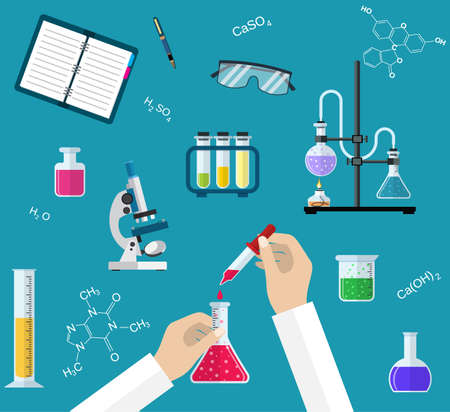reagents: Science Experiment or chemistry laboratory. Research, testing, studies in chemistry, physics, biology. Hands of doctor with pipette and test tube. Desktop research. Vector illustration, flat design.