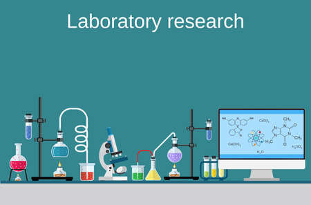 Lab worker table computer chemical research process. Pharmaceutical pharmacology science laboratory. Science, education, chemistry, experiment, laboratory concept. vector illustration in flat design Ilustração Vetorial