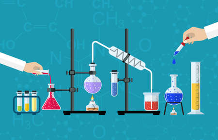 vector studies: Medical Laboratory. Research, testing, studies in chemistry, physics, biology. laboratory equipment. Hands of doctor with pipette and test tube. Desktop research. Vector illustration flat design. Illustration