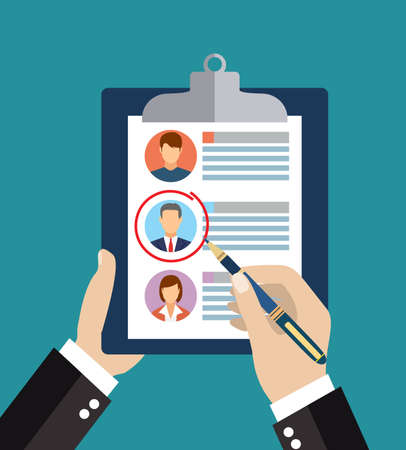 analyzing: Searching professional staff. Analyzing personnel resume. Recruitment, concept of human resources management. CV application. Selecting staff. vector illustration in flat design