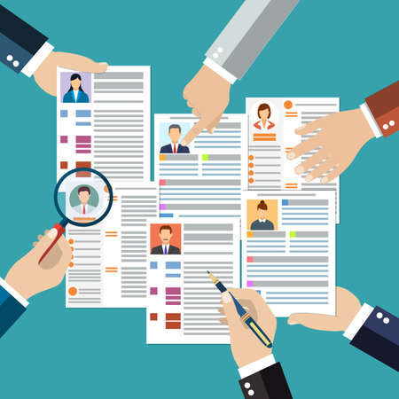 analyzing: Concept of searching professional staff, analyzing personnel resume, recruitment, human resources management, work of hr. vector illustration in flat design