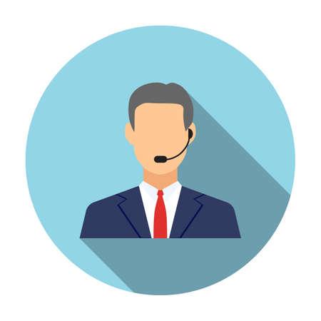 Los operadores del centro de atención telefónica, iconos hombre avatar. ilustración vectorial de diseño plano con una larga sombra