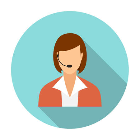 call center female: Call center operators, female avatar icons. vector illustration in flat design with long shadow
