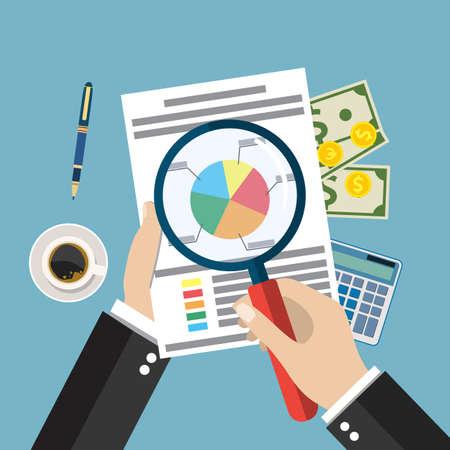 auditing: Cartoon businessman hands with magnifier analysis paper sheet, calculator, pen. auditing tax, financial market analysis, seo, financial report. vector illustration in flat design