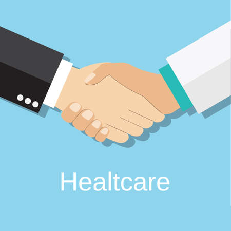 doctor and patient vector: Handshake doctor and patient, Concept healthcare. Medical background. Doctor and patient shaking hands isolated on background. vector illustration in flat design