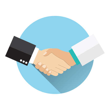 Handshake doctor and patient, Concept healthcare. Medical background. Doctor and patient shaking hands isolated on background. vector illustration in flat design