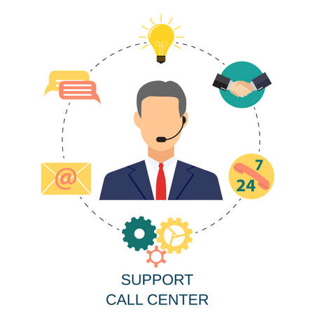 Business customer care service concept. contact us support help desk phone call and website click for infographics design web elements. vector illustration in flat design icon