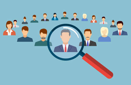 selecting: Human resources management select employee. Recruitment, concept of human resources management. CV application. Selecting staff. vector illustration in flat design