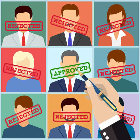select: Human resources management select employee. Recruitment, concept of human resources management. CV application. Selecting staff. vector illustration in flat design