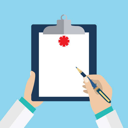 background check: Clipboard in his hand doctor. Doctor takes notes in a Clipboard. Clipboard, hand, pen. Medical report, medical background. Vector, flat design. Patient care. Blank clipboard, template.