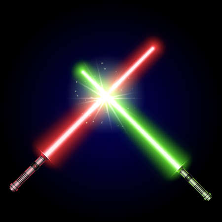 Two Crossed Light Swords Fight. Green and red Crossing Lasers. Design Elements for Your Projects. modern light swords on dark background. Vector illustration.