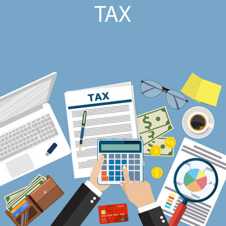 Tax payment. Government taxes. State taxes Data analysis, paperwork, financial research report. Businessman calculation tax. Calculation of tax return. Flat design. Tax form vector. Payment of debt.