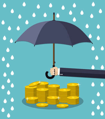 protect: Hand holding umbrella under rain to protect money. money protection, financial savings concpet. illustration in flat style