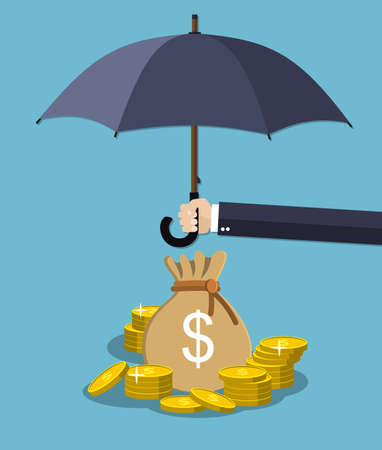 protect money: Hand holding umbrella under rain to protect money. money protection, financial savings concpet. illustration in flat style