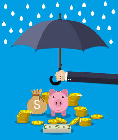 protect: Hand holding umbrella under rain to protect money. money protection, financial savings concept. Illustration