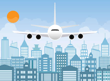 Morning city skyline. Buildings silhouette with windows cityscape. Big city streets. sky with sun and clouds. Plane flying over urban city. Vector illustration