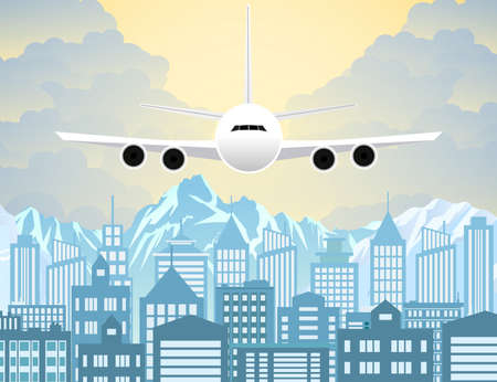 Morning city skyline. Buildings silhouette with windows cityscape with mountains. Big city streets. sky with sun and clouds. Plane flying over urban city. Vector illustration Illustration