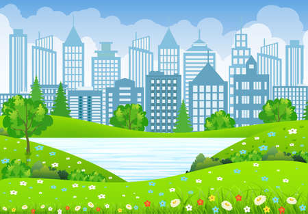 coastal: Green business City Landscape with tree lake and flowers. vector illustration in flat design