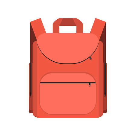 labelling: red backpack isolated on white background. Bag for school. vector illustration in flat design