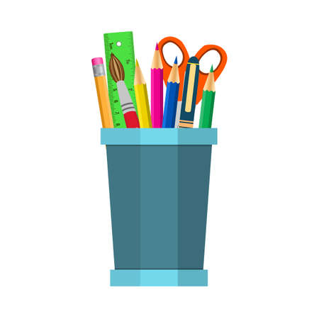 Vector   Vector Color Pencils In Cup Illustration Office Supply Design.  Vector Illustration In Flat Design