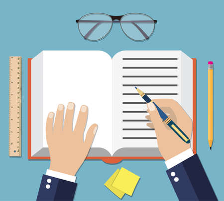 hand writing: Businessman Hand Writing On Book Open vector illustration in flat design