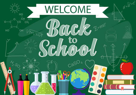 Horizontal banner, background, poster from the school and education icons. Back to school. vector illustration in flat design