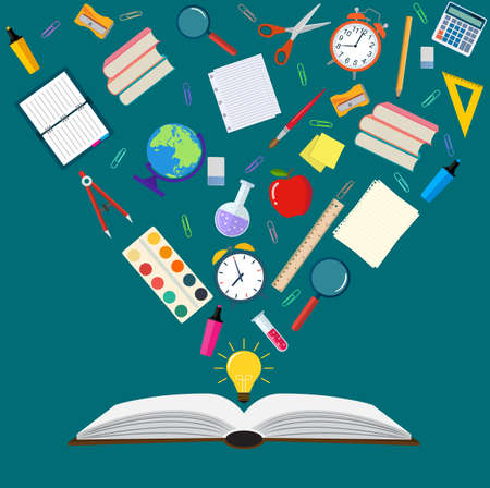 Time to education open book school subjects effective education power of knowledge back to school vector illustration