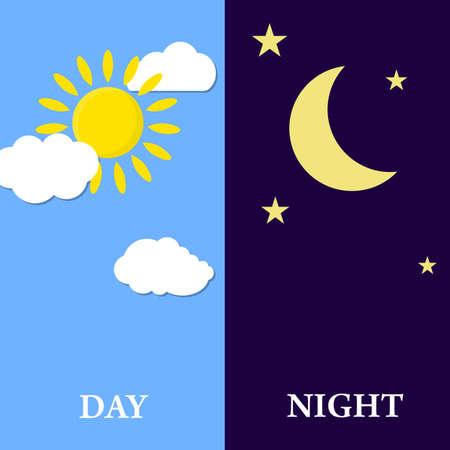 dia y noche: Concepto del día de la noche, el sol y la luna, la noche Icono de la ilustración vectorial día en diseño plano Vectores