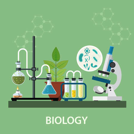 Biology laboratory workspace and science equipment , microscope, conceptual Scientific research. vector illustration in flat design