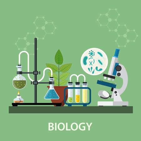 Biología espacio de trabajo de laboratorio y equipo de la ciencia, microscopio, investigación científica conceptual. ilustración vectorial en diseño plano