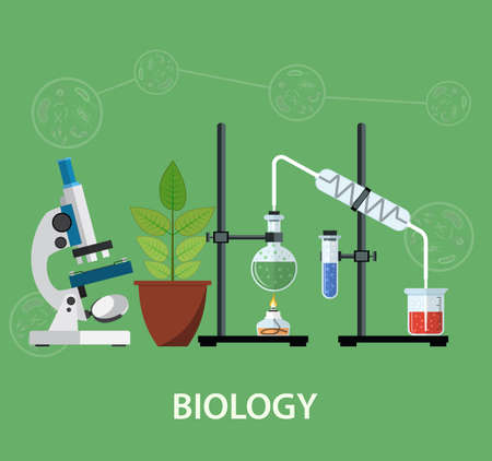 scientific research: Biology laboratory workspace and science equipment , microscope, conceptual Scientific research. vector illustration in flat design