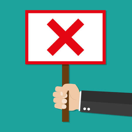 Cartoon Businessman hand hold sign with red cross. negative checkmark in center. wrong choice concept. illustration in flat design on green background. Illustration