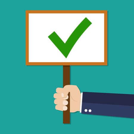confirm: Cartoon Businessman hand hold sign with green tick. positive checkmark in center. right choice concept. illustration in flat design on green background.