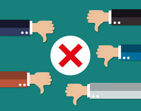 cartoon Businessmans hands hold thumbs down. negative checkmark in center. illustration in flat design on green background. Illustration