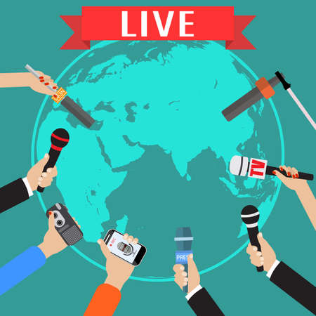 Few hands of journalists with microphones, tape recorder and smartphone. journalism, live report, hot news, television and radio casts concept. vector illustration in flat style, world map background Illustration
