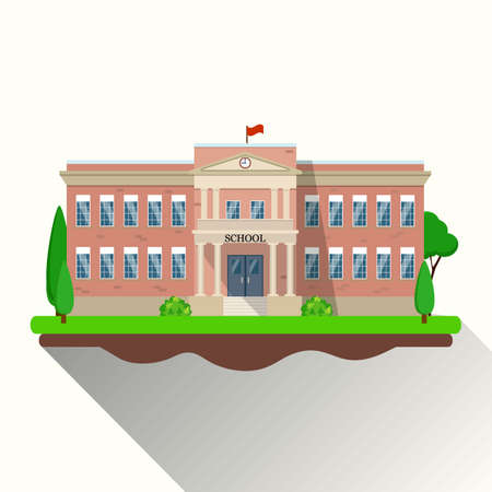 main entrance: modern school building, the main entrance and front yard. Vector illustration in flat style Illustration