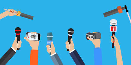 Journalism concept . Set of hands holding microphones. Press hands flat hand. Microphone. Journalist. Microphone vector. Set of microphones Isolated. Hand with microphone.