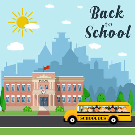 undergraduate: Welcome back to school. School building, bus and front yard with students children with city landscape. Vector illustration in flat style