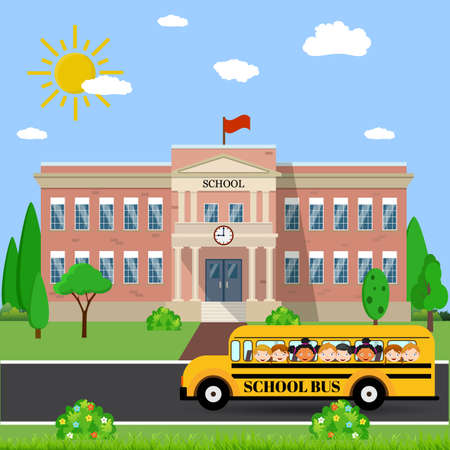 undergraduate: Welcome back to school. School building, bus and front yard with students children. Vector illustration in flat style