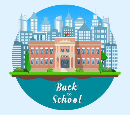 multilevel: Welcome back to school. Building on the background of the city. Vector illustration in flat style