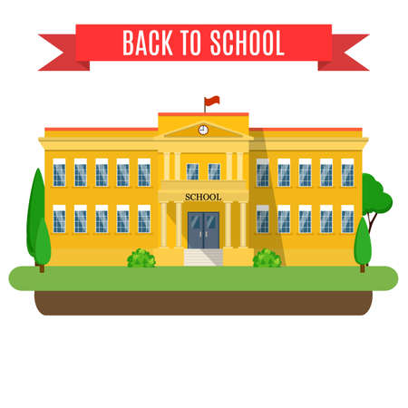 main entrance: Welcome back to school. modern school building, the main entrance and front yard. Vector illustration in flat style