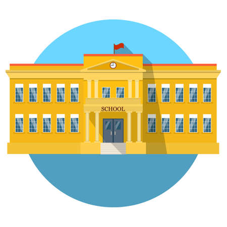 institute: School building flat icon with long shadow. vector illustration in flat style