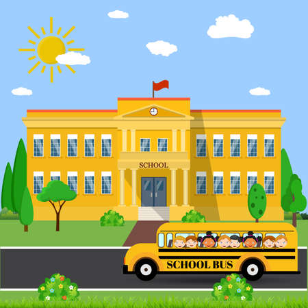 front yard: Welcome back to school. School building, bus and front yard with students children. Vector illustration in flat style
