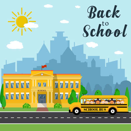 front yard: Welcome back to school. School building, bus and front yard with students children with city landscape. Vector illustration in flat style