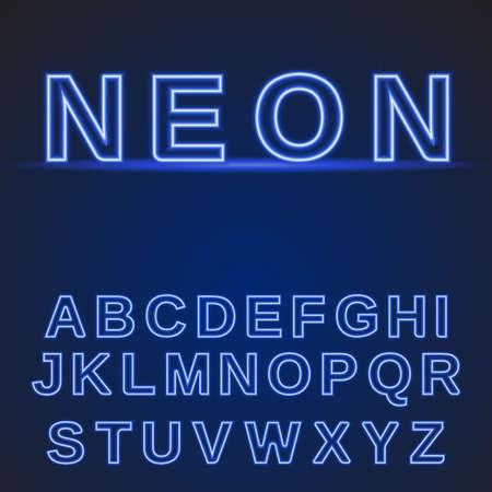 neon alphabet: neon alphabet. Glowing font on a dark blue background. Vector illustration