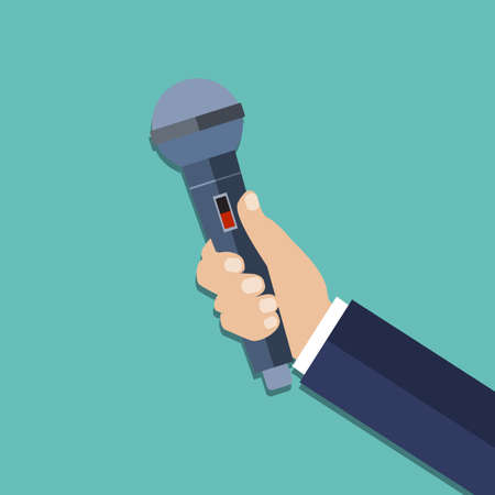 entertaining: hand holding a microphone. journalims concept. vector illustration in flat design on green background