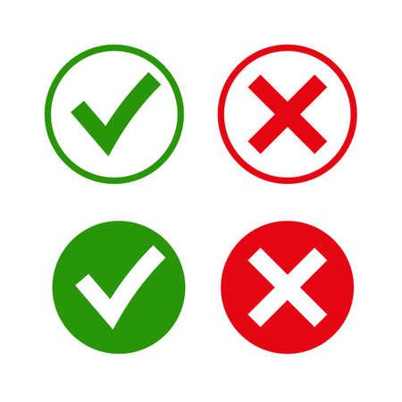 Señales de garrapata y cruz. Marca de verificación verde OK e iconos X rojos, aislados sobre fondo blanco. Diseño gráfico de marcas simples. símbolos SÍ y NO botón para voto, decisión, web. Ilustración vectorial