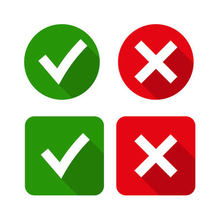 green button: Tick and cross signs. Green checkmark OK and red X icons, isolated on white background. Simple marks graphic design. symbols YES and NO button for vote, decision, web. Vector illustration