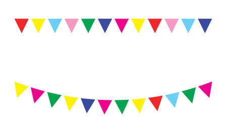 festive: Bunting festive flags and garland festive flags set. Colorful festive flags vector illustration. Elements festive flags celebrate, party or festival design festive flags. Triangle celebrate festive.