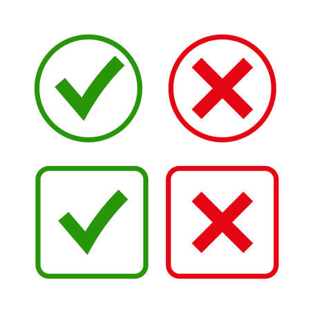 x marks: Tick and cross signs. Green checkmark OK and red X icons, isolated on white background. Simple marks graphic design. symbols YES and NO button for vote, decision, web. Vector illustration